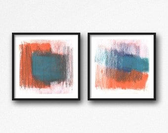 Abstract Art, Wall Art Prints, Minimalist Prints, Modern Art, Colorful Wall Art, Set of 2 Prints, Blue and Orange Art, Abstract Print