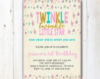 Twinkle Twinkle Little Star First Birthday Invitation   Pink And Gold Birthday   Girl 1st Birthday Invite   Girl First Birthday   Printable