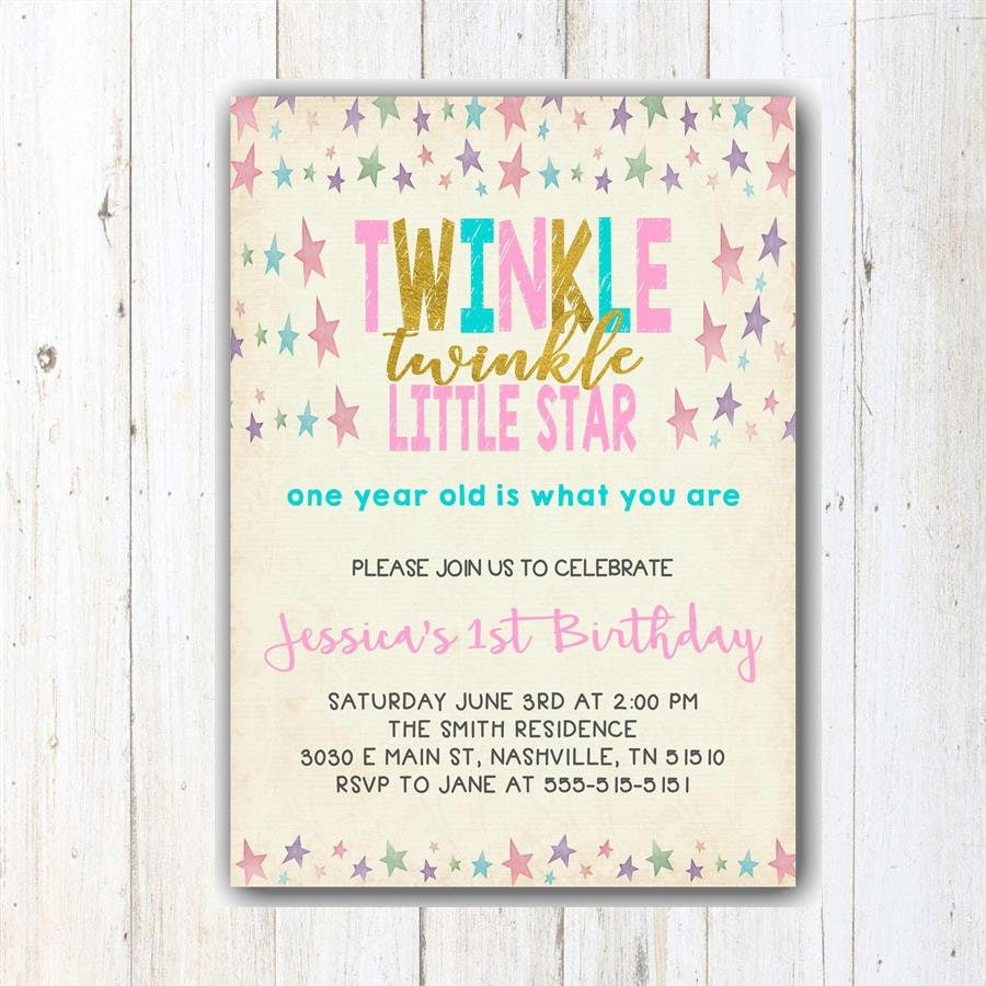 Twinkle Twinkle Little Star First Birthday Invitation   Pink And ...