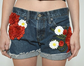 Floral Embelished Vintage Levis Hot Pants Denim Reworked Custom Jean Shorts