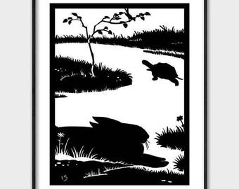 Tortoise and the Hare Printable (Art Deco Download, Instant Digital Black and White Gift for Her) Aesops Fable Home Wall Decor