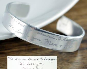 Actual Handwriting Bracelet, Handwritten Bracelet, Personalized Engraved Bracelet, Gift for Mom, Daughter, Custom Handwriting Cuff Bracelet