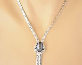 Vintage Hematite Lariat Y Shape Statement Necklace Rhinestone Silver Tone Boho Chic Adjustable