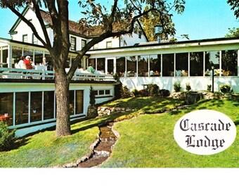 Vintage Kintersville Bucks County PA Pennsylvania Postcard Cascade Lodge Restaurant Real Photo Retro Travel Souvenir Unposted