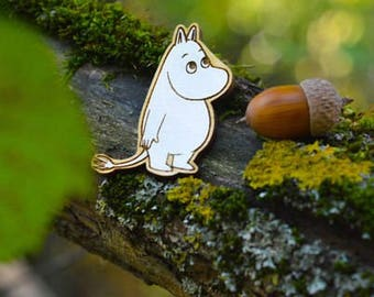 "Wooden Brooch ""Moomins"", Wooden Moomins Brooch, hand painted"