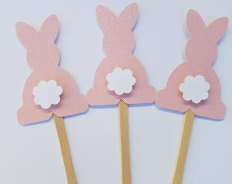 Pink glitter bunny cupcake toppers/ Easter/ Some Bunny is one (12 Count)