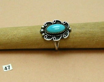 Turquoise, Sterling Silver handcrafted  1970's Ring with scrolls, beads & twisted wire, Size 6 1/4.