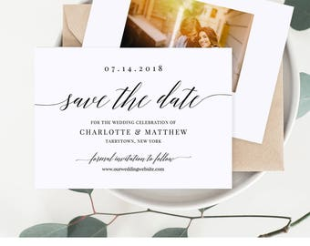 Save the Date Template, Calligraphy Wedding Date Announcement, 100% Editable, Upload Your Image, Printable, Instant Download, DIY #034-202SD