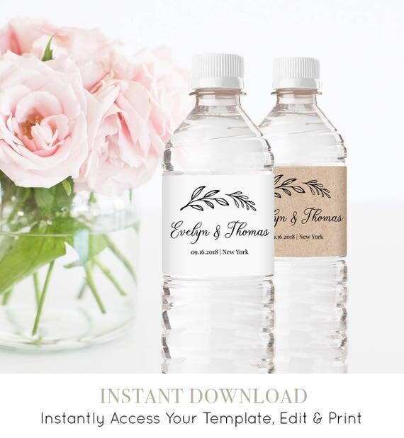 Water Bottle Label Template, Personalized Label, 100% Editable, Printable Rustic Wedding Water Bottle Favor, Instant Download DIY #027-102BL