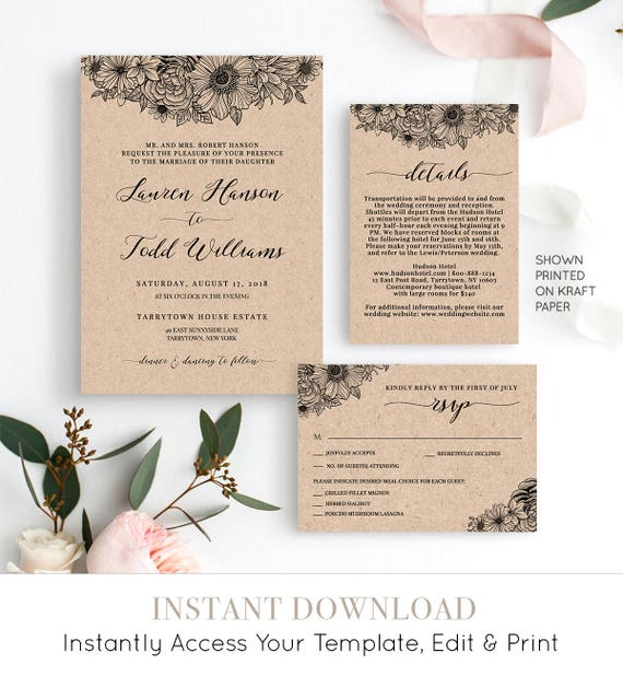 Wedding Invitation Set, Rustic Floral Wedding Invite, Details, RSVP Template, Instant Download, DIY Printable File, 100% Editable #025B