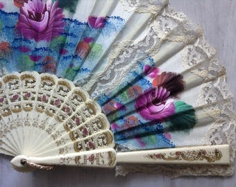 Ivory fabric hand painted fan vintage, floral lace fan