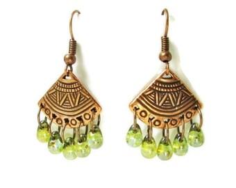 Native American Earrings, Tribal Earrings, Copper Earrings, Southwest Earrings, Fan Earrings, Chandelier Earrings