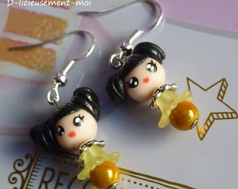 Earrings in 925 sterling silver yellow kawaii chibi girl kokeshi doll polymer clay