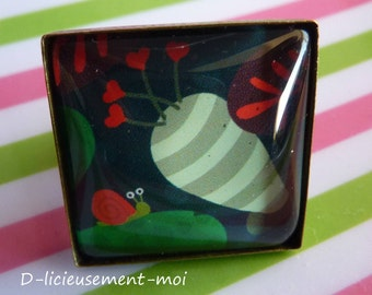 Ring adjustable adjustable glass cabochon square 25 * 25 mm metal bronze snail nature heart