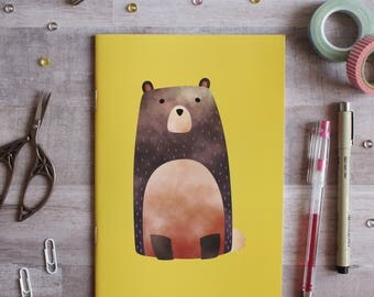 NOTEBOOK. A5 Cute Bear Notebook. Soft 300 gsm Card Cover. 40 lined pages. Matte lamination pleasant to the touch.