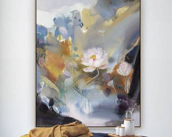 Large wall art, Abstract Painting, Original Art, Oil painting, Lotus oil painting, Canvas art, Large canvas art, Paintings on canvas, Flower