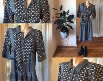 Long vintage black and white drop waist dress