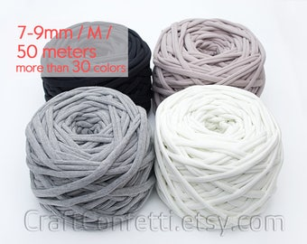 T-shirt yarn 50m / M yarn / Thick spaghetti yarn Quality fabric yarn 100% cotton yarn Bulky cotton yarn Solid color t-shirt yarn / 50 meters