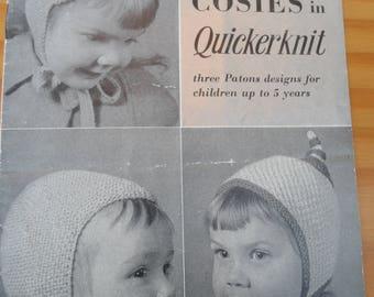 Vintage knitting pattern for 3 designs of children's hats/bonnets.