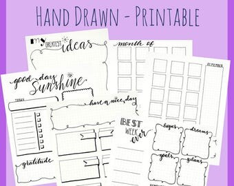 Hand Drawn Positivity Planner - Decorated Bullet Journal Templates, A5, Letter, and Classic Happy Planner Sizes Included