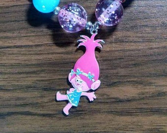 Troll girl bubblegum charm necklace.