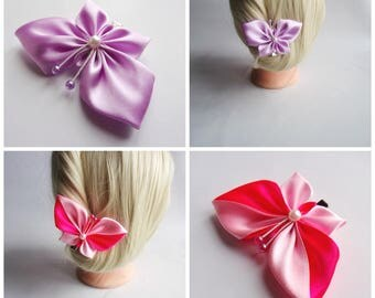 Satin Butterfly Hair clip/Hair clip with Kanzashi Butterfly/Satin Hair accessory/Up to 160 Custom Colors