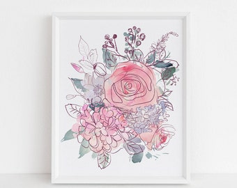Floral art print, printable wall art, abstract art print, modern art print, watercolor print, wall art decor, farmhouse decor, rose, peony