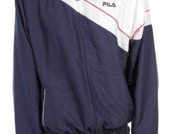 Vintage 90s Fila Windbreaker jacket Navy Blue/White Size M