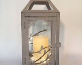 Small Lantern with candle/grey lantern/gray lantern/shipping included/wedding lantern/fairy light/unique gift/vintage lantern with candle
