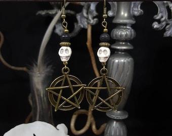 Pentagram - witch - Witch Skulls earrings - skull - skull - gothic - supernatural - Voodoo - ritual - spell - halloween