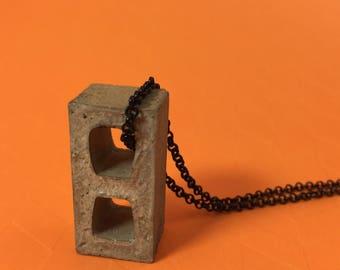 Miniature Cinder Block / Modern Concrete Necklace | Beton Jewelry | Contemporary Design | Building Block | Industrial Style Cement Jewelry