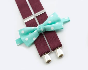 father son matching outfit  mint polka dots bow tie & burgundy suspenders  father son bow ties and suspenders
