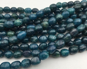 "Natural Apatite Nugget Gemstone Smooth Loose Beads Size 8-10mm Approx 15.5"" Long per Strand"