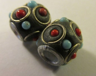 """Handcrafted Kashmiri Barrel Bead with Metal Coiling and Mini Beads, 1/2"""", Set of 2"""