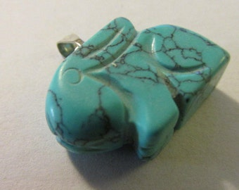 Carved Turquoise Blue Bunny Rabbit Pendant, 3/4""