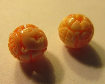 Faux Pink Coral Resin Dragon and Chinese Shou Beads, 8mm, Set of 2