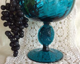 Superb cameo stem Art glass open compote optic glass bowl sea blue color beautiful centerpiece display