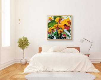 Yellow Flower Wall Art Abstract Flower Art Yellow Flower Canvas Art Flowers Painting Large Flowers Wall Art Flower Paintings for Bedroom