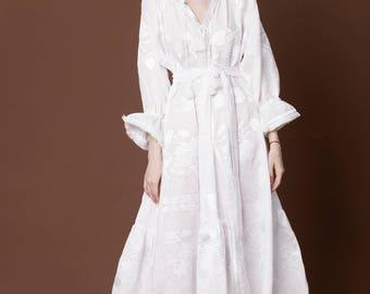 White Linen Wedding Dress Vyshyvanka Ukrainian Kaftan Mexican Abaya Caftan Boho Style Clothing Embroidered Summer Tunic For Engagement rty