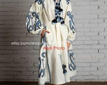 Kaftan Midi Dress Linen Abaya Embroidered Dress African Print Boho Style Ukrainian Vyshyvanka Traditional Gipsy Tunic Mexican Embroidery