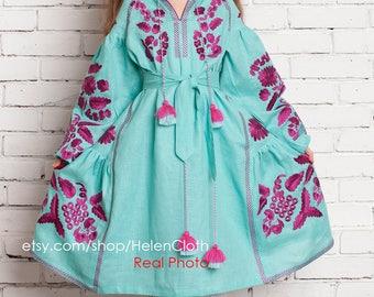 Mint girls vyshyvanka dress bohemian style, Embroidered dress for kid girl, Ethno folk Modern girls tunic, Ukrainian dress Chic nationale
