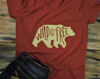 bear shirt, quote shirts, custom shirt, t-shirts, cute t-shirt, quote t-shirt, bear t-shirt, wild and free, cute tank top, custom tank top