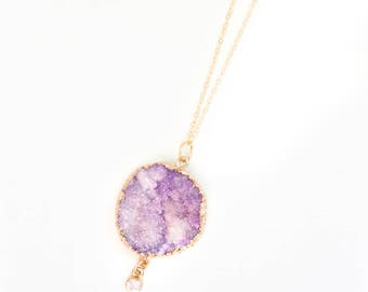 Amethyst Druzy Charm Necklace // Valentine's Day gift, amethyst druzy, druzy necklace, gold druzy necklace