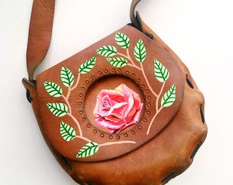 Hand Painted Upcycled Vintage 1970s Leather Saddle Bag Bright Realistic Pink Rose Purse