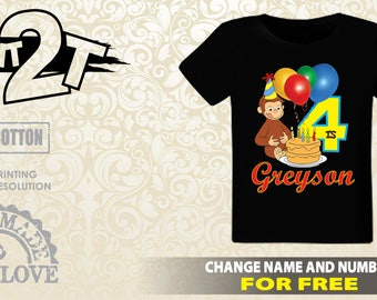 Curious George Custom T-Shirt, Custom Name and Number 1st 2nd 3rd 4th 5th 6th 7th Birthday 2T,3T,4T,5T,6T,7T, Custom birthday shirt