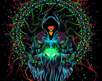 "Psy Вackdrop ""Crystal Wizard"" blacklight active Fluorescent Wall hanging Deco Psytrance psychedelic tapestry uv backdrop"