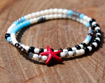 Bracelets ASTERY Starfish - Beaded wrap bracelet, double turn
