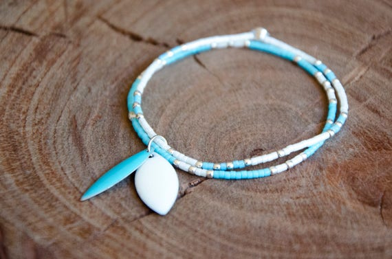 Bracelet CYANE blanc, bleu et Argent 925