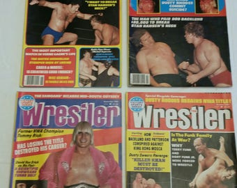 4 vintage pro wrestling magazines - the wrestler 1981 june july sept oct - wwe wwf awa ecw nwa sports sammartino piper flair backlund  #c