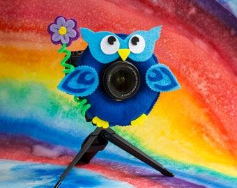 Photographer Helper, Camera Lens Buddy - Blue Owl with Flower